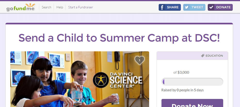 GoFundMe Summer Camp 2016