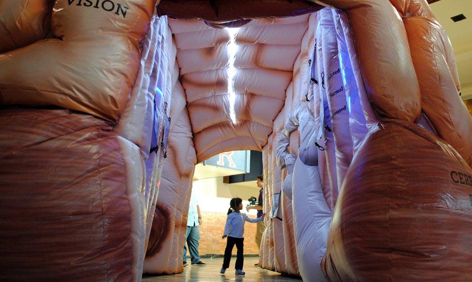 A child walks inside MEGA Brain.