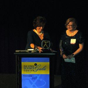 Kathleen McKenzie, vice president of community affairs for Highmark Blue Shield, presented the Distinguished Female STEM Leadership Award to Elizabeth Meade, interim president of Cedar Crest College.